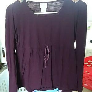 Long sleeve plum colored maternity shirt